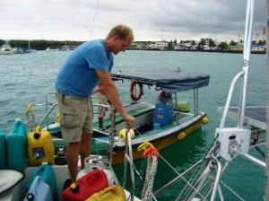 Transferring jugs from the water taxi