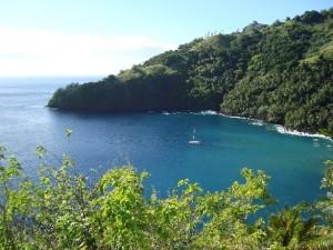 At anchor in Hana Tefau Bay
